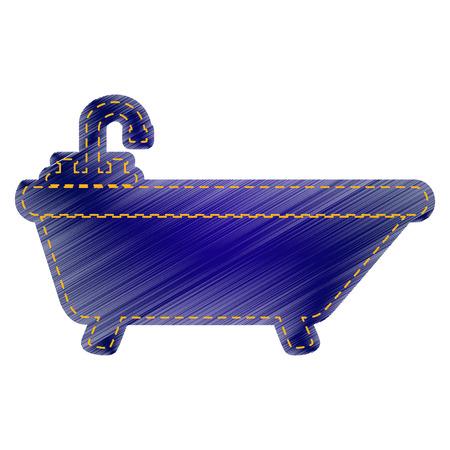 bathtub: Bathtub sign illustration. Jeans style icon on white background. Illustration