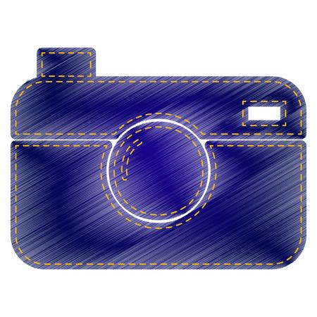Digital photo camera sign. Jeans style icon on white background. Illustration