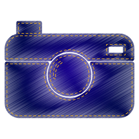 whim of fashion: Digital photo camera sign. Jeans style icon on white background. Illustration