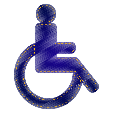 one man only: Disabled sign illustration. Jeans style icon on white background. Illustration