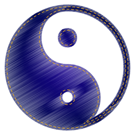 yang style: Ying yang symbol of harmony and balance. Jeans style icon on white background. Illustration