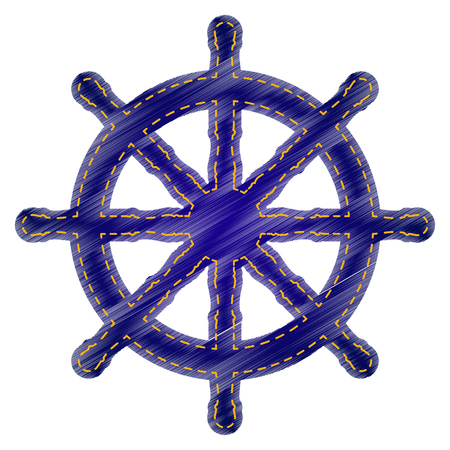 schooner: Ship wheel sign. Jeans style icon on white background.