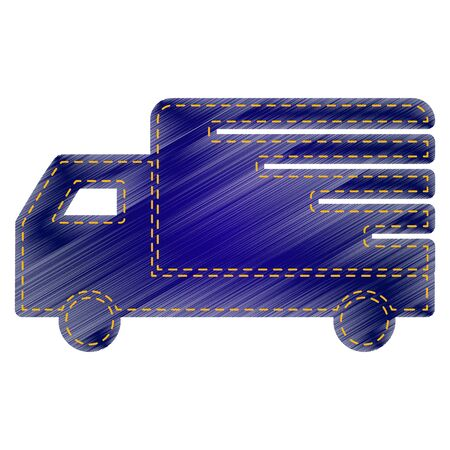 removal van: Delivery sign illustration. Jeans style icon on white background. Illustration