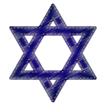 magen david: Shield Magen David Star. Symbol of Israel. Jeans style icon on white background.