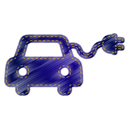 echnology: Eco electric car sign. Jeans style icon on white background.