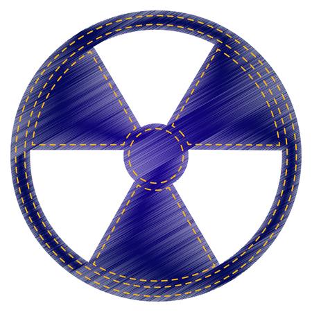 radiological: Radiation Round sign. Jeans style icon on white background. Illustration