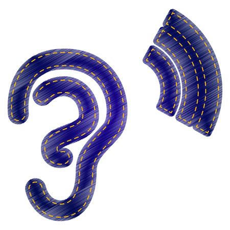 listener: Human ear sign. Jeans style icon on white background.