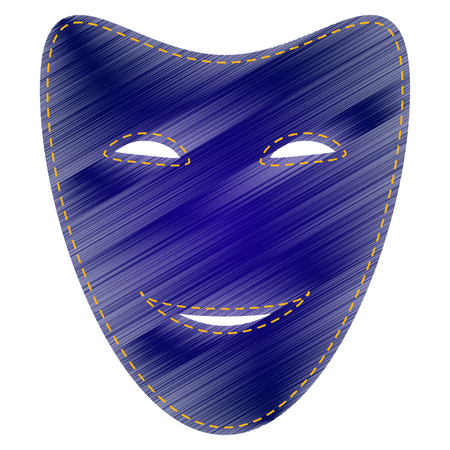 comedy: Comedy theatrical masks. Jeans style icon on white background. Illustration