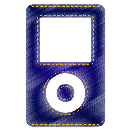 mp: Portable music device. Jeans style icon on white background. Illustration
