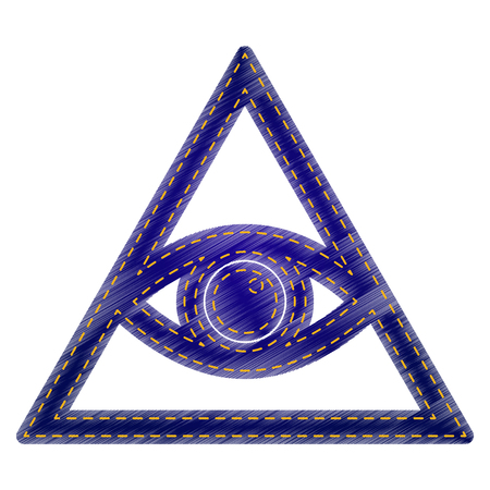 new world order: All seeing eye pyramid symbol. Freemason and spiritual. Jeans style icon on white background.