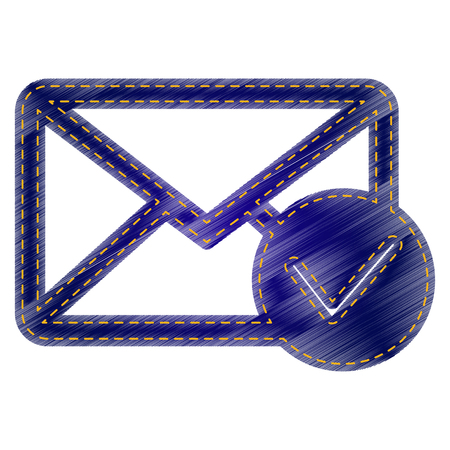allow: Mail sign illustration with allow mark. Jeans style icon on white background. Illustration