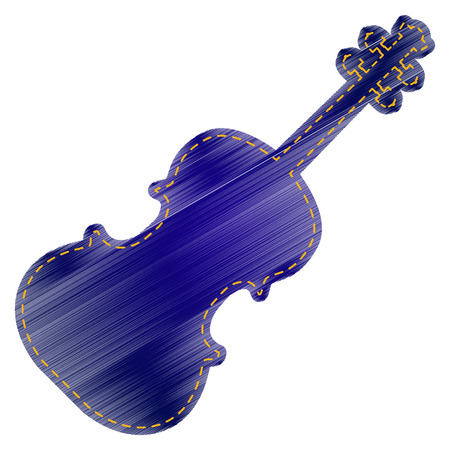 fiddle bow: Violine sign illustration. Jeans style icon on white background. Illustration
