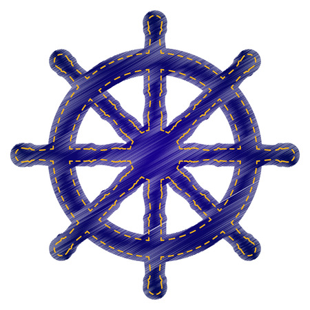 mariner: Ship wheel sign. Jeans style icon on white background.