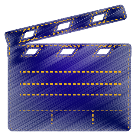 clap: Film clap board cinema sign. Jeans style icon on white background. Illustration