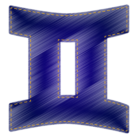 stellar: Gemini sign. Jeans style icon on white background.