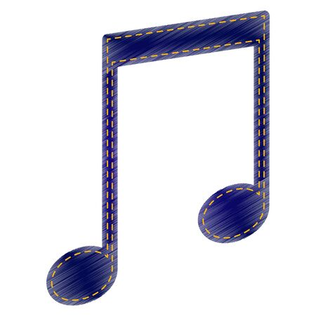 Music sign illustration. Jeans style icon on white background.