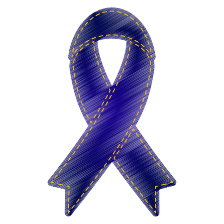 substance abuse awareness: Black awareness ribbon sign. Jeans style icon on white background.