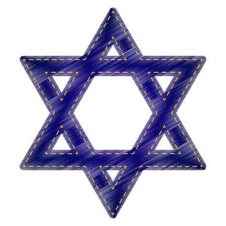 Shield Magen David Star. Symbol of Israel. Jeans style icon on white background.