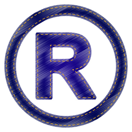 dispensation: Registered Trademark sign. Jeans style icon on white background.