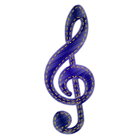 gclef: Music violin clef sign. G-clef. Treble clef. Jeans style icon on white background.