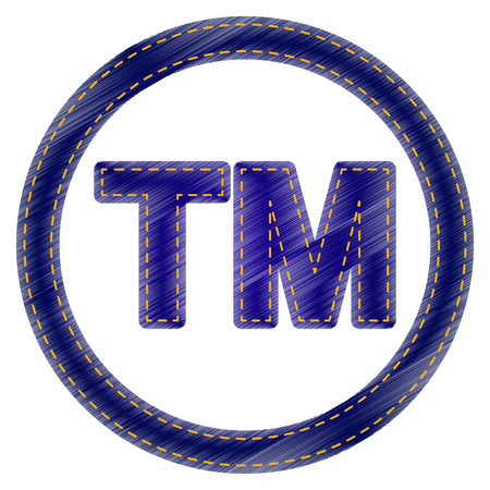trade mark: Trade mark sign. Jeans style icon on white background. Illustration