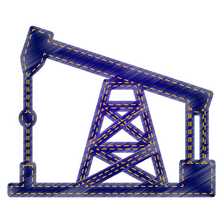 drilling rig: Oil drilling rig sign. Jeans style icon on white background. Illustration