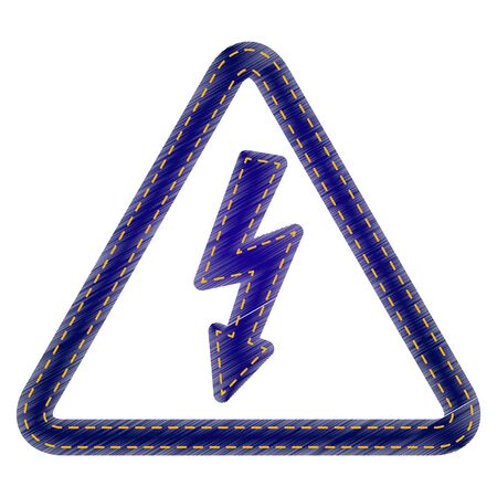 voltage danger icon: High voltage danger sign. Jeans style icon on white background. Illustration