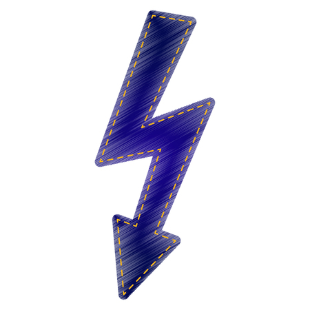 voltage danger: High voltage danger sign. Jeans style icon on white background. Illustration
