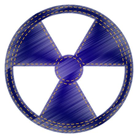 peril: Radiation Round sign. Jeans style icon on white background. Illustration
