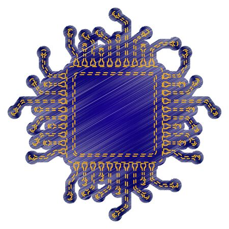 microelectronics: CPU Microprocessor illustration. Jeans style icon on white background. Illustration