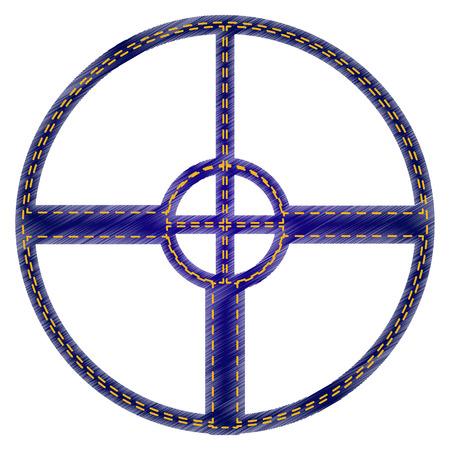 sight: Sight sign illustration. Jeans style icon on white background. Illustration