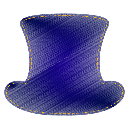 Top hat sign. Jeans style icon on white background. Illustration