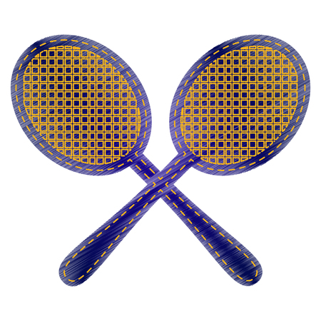stretched: Tennis racquets sign. Jeans style icon on white background.