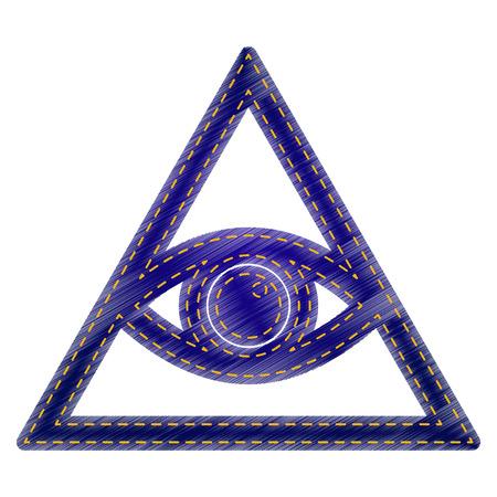all seeing eye: All seeing eye pyramid symbol. Freemason and spiritual. Jeans style icon on white background.