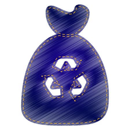 segregate: Trash bag icon. Jeans style icon on white background.