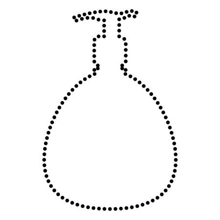 Gel, espuma o jabón líquido. Dispensador de plástico bomba botella silueta. estilo del punto o el icono de estilo de viñeta en blanco.