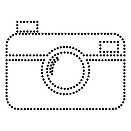 whim of fashion: Digital photo camera sign. Dot style or bullet style icon on white. Illustration