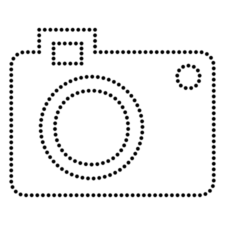bullet camera: Digital camera sign. Dot style or bullet style icon on white.