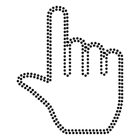 hit tech: Hand sign illustration. Dot style or bullet style icon on white.