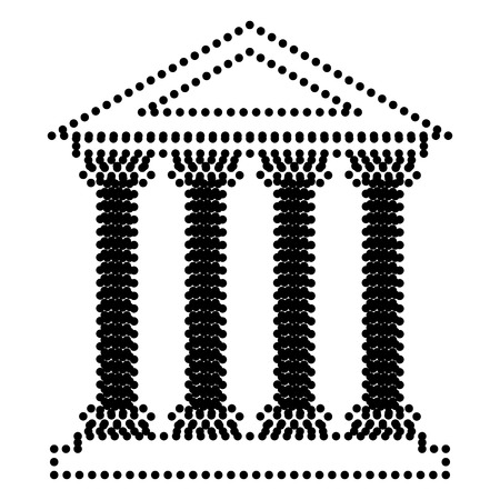 historical building: Historical building illustration. Dot style or bullet style icon on white.