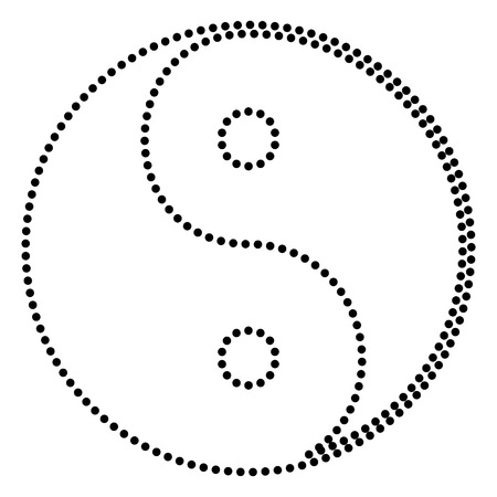 yinyang: Ying yang symbol of harmony and balance. Dot style or bullet style icon on white.