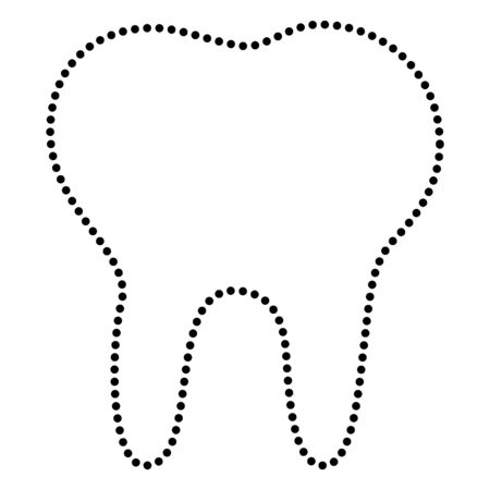 toothcare: Tooth sign illustration. Dot style or bullet style icon on white.