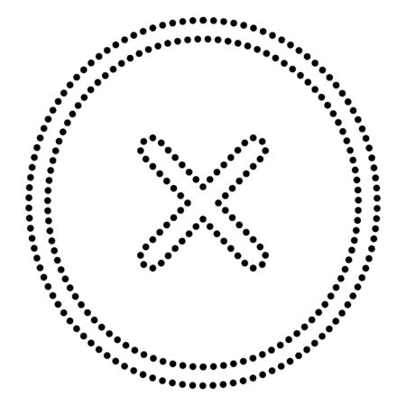 voted: Cross sign illustration. Dot style or bullet style icon on white. Illustration