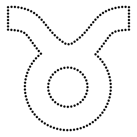 taurus sign: Taurus sign illustration. Dot style or bullet style icon on white.