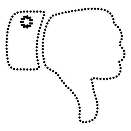 disapprove: Hand sign illustration. Dot style or bullet style icon on white.