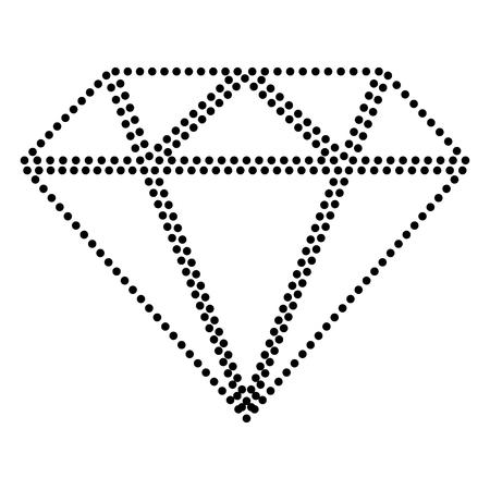 Diamond sign illustration. Dot style or bullet style icon on white.