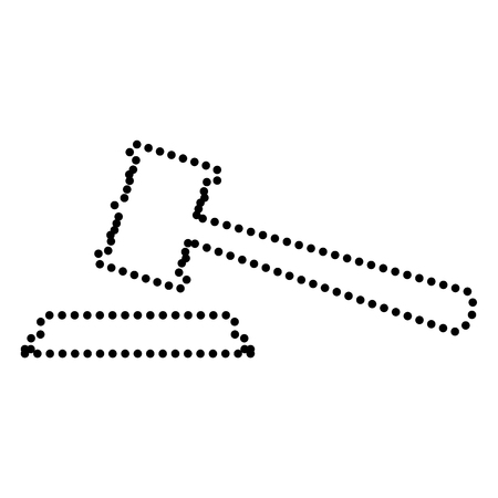 auctioneer: Justice hammer sign. Dot style or bullet style icon on white.
