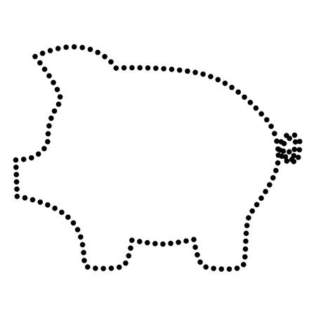 dolar: Cerdo signo banco de dinero. estilo del punto o el icono de estilo de viñeta en blanco. Vectores