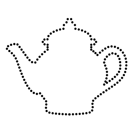 chinese tea pot: Tea maker sign. Dot style or bullet style icon on white.