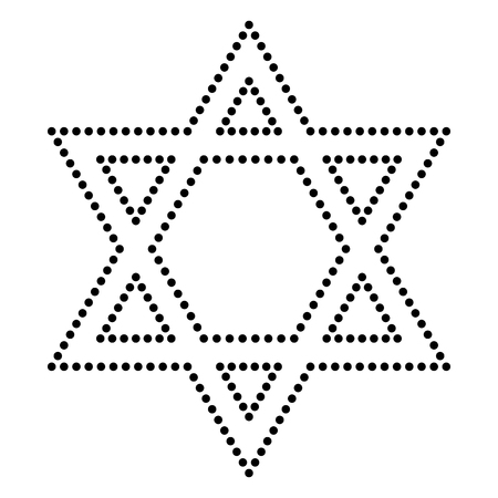 magen: Shield Magen David Star. Symbol of Israel. Dot style or bullet style icon on white. Illustration